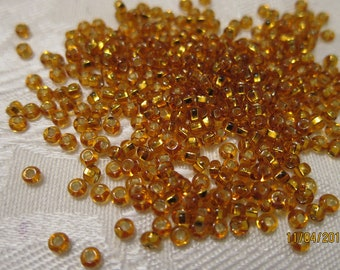 8/0, Preciosa Glass Seed Beads, Silver-Lined Transparent Dark Gold - The Last 40g Pkg....