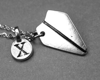 Paper plane necklace, paper plane charm, personalized necklace, personalized jewelry, initial necklace, initial charm, monogram letter