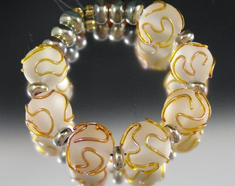 Doodle - Handmade Lampwork Glass Bead Set by That Bead Girl - Etched crystal and metallic gold