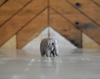 Intricate Indian Elephant Spirit Animal Totem // Miniature Handmade Polymer Clay Animal Figurine