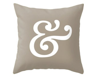 Ampersand pillow cover. Taupe pillow ampersand cushion typography cushion Taupe cushion taupe decorative pillow brown decor brown pillow