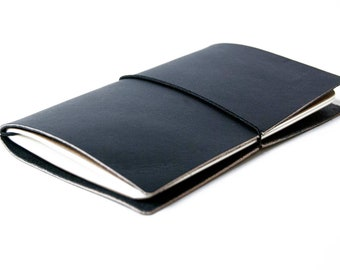 Leather Notebook Cover - Black color  Field Notes/Moleskine notebook cover made from veg tan leather