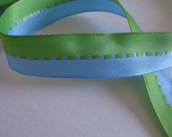 """1"""" blue and green ribbon, 5 yards (180 inches)"""