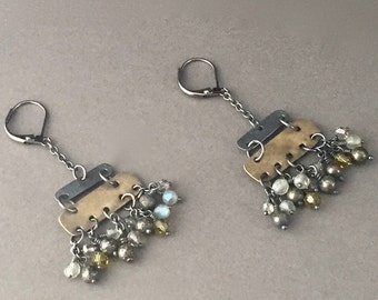 Chandelier, Cluster Earrings, Oxidized 925 Sterling Silver and Patinated Brass, Natural Gemstones: Pyrite, Labradorite, Industrial, Rustic.
