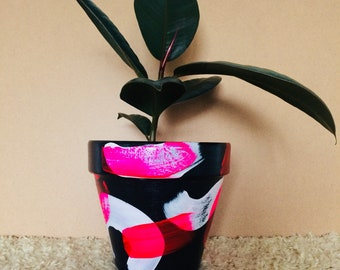 Indoor Small Planter Plant Pot Painted Terracotta Clay Pot 'The Warmth of the Sun' Varnished Pot Small 12cm