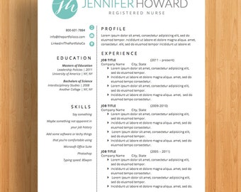 "Professional Resume Template, CV and Cover Letter, Resume Guide, Mac or PC, Custom Monogram (""Del Ray"")"
