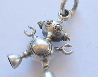 Robot necklace BUBBLEBOT steampunk sterling silver