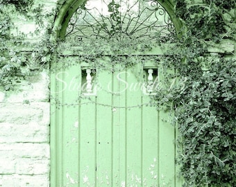 "Door Photography, Door Art, Green Door Print, Architectural Art, Rustic Home and Garden Art, St Augustine Farmhouse- ""Apple Green Cottage"""