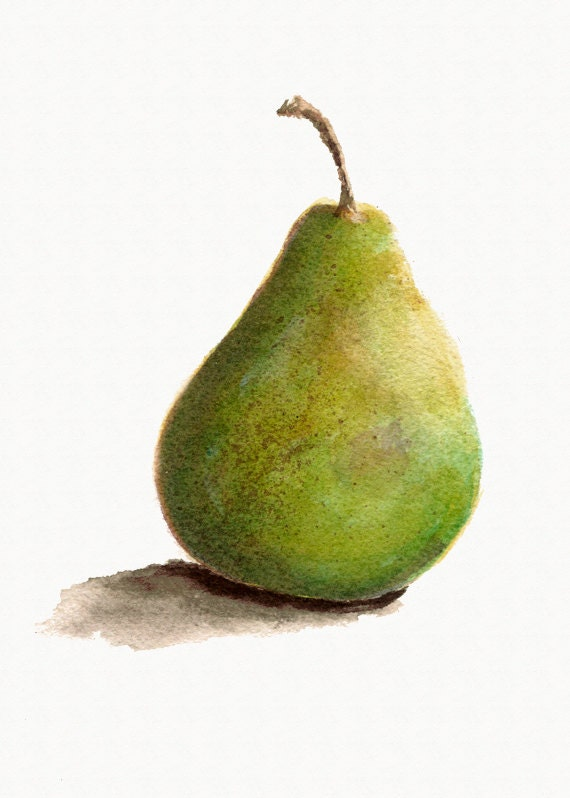 Green Pear Print from Original Watercolor Kitchen Decor Home