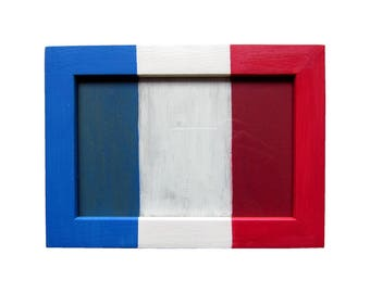 """Frame picture red white blue """"Go the France"""" - 10x15cm - feasible in other formats"""