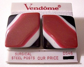 Red Grey Black Square Pierced Earrings Silver Tone Vintage Vendome Striped Large Lucite Bevel Discs