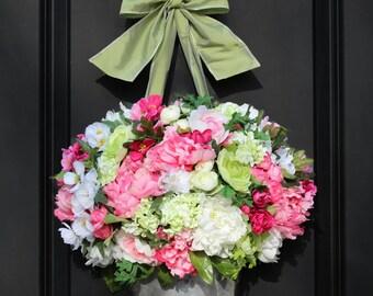 Door Wreath -  Peony Hydrangea Wreath - Door Wreath - Mothers Day Gift