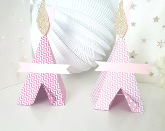 Teepee-Indian pink or fuchsia Chevron-210 g glittery Gold feather