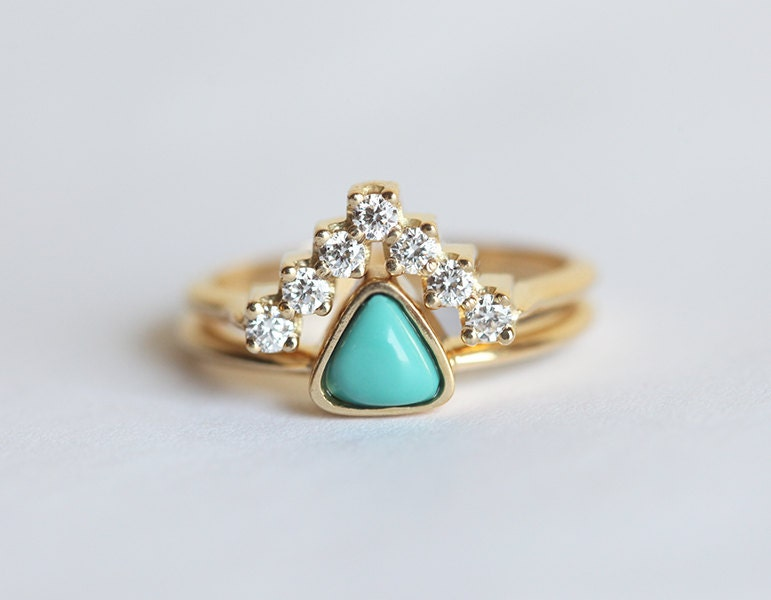 turquoise and diamond wedding ring turquoise engagement ring trillion engagement ring 8114