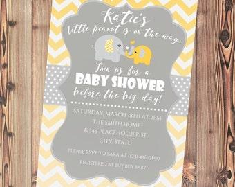 Baby Shower Elephant Invite, Baby Shower Elephant Invitation, Gray and Yellow Chevron - Printable File