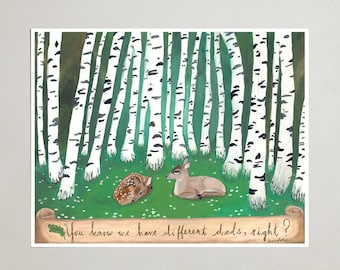 Art Print - Two Fawns - Signed by Artist - 3 Sizes - S/M/L
