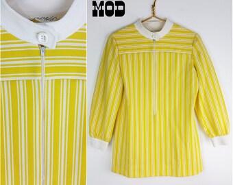 Way Cool Space Age Vintage 60s Mod Yellow & White Stripe Top!