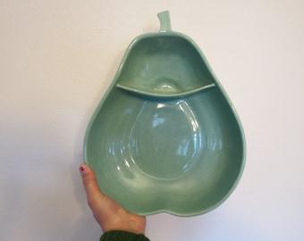Pfaltzgraff Ceramic Aqua Blue Speckled Pear Divided Ceramic Dish