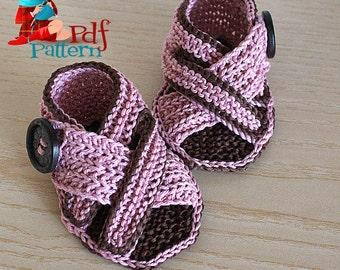 Knitting Pattern (PDF file) Baby Sandals V Straps (sizes 0-6/6-9/9-12 months)