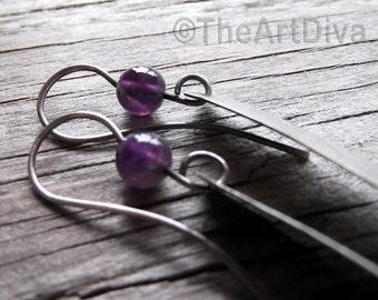 long sterling silver dangle earrings with amethyst bead - long textured sterling silver earrings