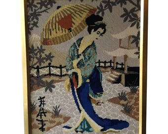 Geisha Vintage Needlepoint - Needlepoint Wall Art - Geisha Framed Cross Stitch
