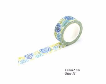 Blue- Washi Tape, Masking Tape, Planner Stickers, Stationery ,15mm*7m,Flower,TA06-3