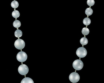 Vtg Moonglow Bead Necklace Pale Blue Invisible Closure 10-15mm Graduated