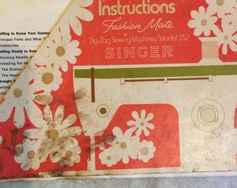 ORIGINAL Singer Sewing Machine manual Fashion Mate Zig-Zag Model 252