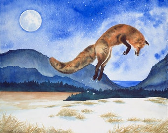 "Fox Watercolor, PRINT 9"" by 11"""