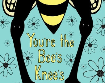 Yellow and Black Bee on Turquoise with Daisy Flowers  - 8 x 10 Art Print - You're the Bee's Knees - Kids room decor playroom baby