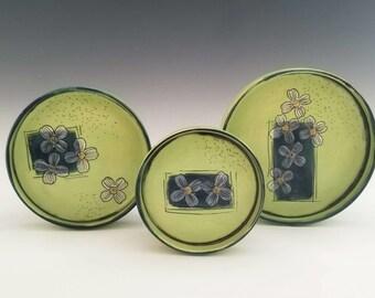 Ceramic Nesting Plate Set, Vanity Tray, Nesting Serving Plate, Dogwood Flower Porcelain PLate