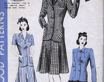 Bust 34-1940's Misses' Two-Piece Suit  Hollywood Patterns 721 Featuring Actress Brenda Marshall  Size 16