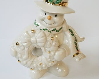 Lenox Snowy Greetings Christmas Snowman Sculpture Figure
