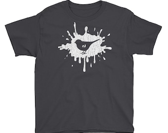 Early Bird Gets The Worm Youth Short Sleeve T-Shirt - Funny Distressed Retro Silhouette Of Bird And Worm