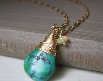 Genuine Turquoise Necklace Gold Filled, Minimalist Pendant, Real Turquoise, Welo Opal Accent, Turquoise Pendant Wirewrapped Briolette