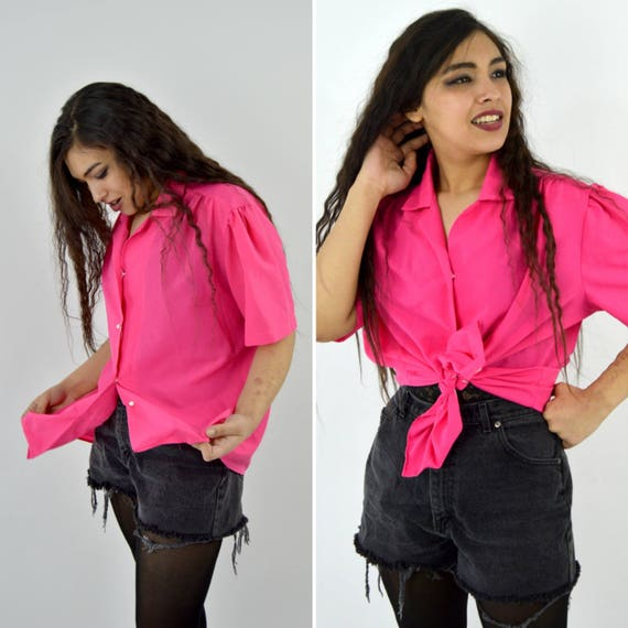 eb229f7b129 Vintage 70s Short Sleeve Hot Pink Blouse Button up Casual