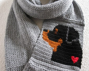 Rottweiler Infinity Scarf. Gray knitted circle scarf with a rottie dog and red heart. Long knit cowl scarves with dogs. Rottweiler gift