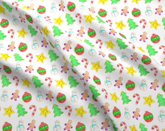 Christmas Cookies Fabric - Christmas Cookies By Erinanne - Christmas Cookies Watercolor Food Cotton Fabric By The Yard With Spoonflower