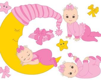 Baby Girl Clipart - Digital Vector Baby Girl, Infant, Newborn, Baby Shower Clip Art