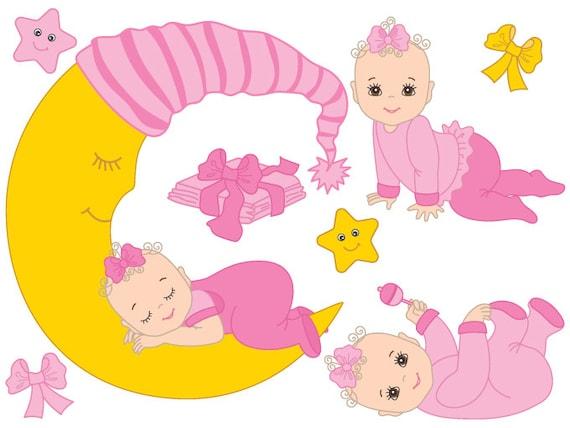 baby girl clipart digital vector baby girl infant newborn rh etsy com baby girl clip art pinterest baby girl clip art images free