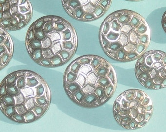 "Set 12 PIERCED Silver Metal Fancy Blazer Suit Buttons SIZES 5/8"" - 13/16"""