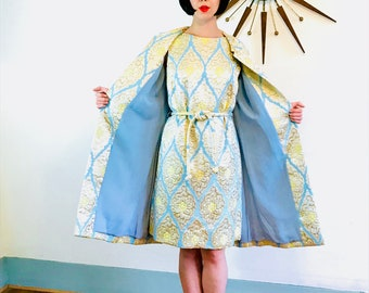 1960er Jahre Brokat Kleid, 60 Kleid Mantel Set, metallischen Mod Kleid, Cocktail-Party, zwei Stück Outfit, Gold Silber Aqua, Mad Men, Fancy Abendgarderobe