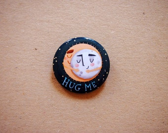 Pin button, hug me, eclipse pin, blue button brooch, moon badge, sun pin, pin buttons, gift for best friend, tiny brooch, gift for her