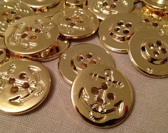 "Sew On Buttons, Gold Anchor, 4 Holes, 28mm(1-1/8""), 4 pcs,"