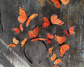 Fluttering Butterfly Fascinator, Orange Butterfly Headpiece, Butterfly Headdress, Headband, Hat, Derby, Statement Party Headpiece