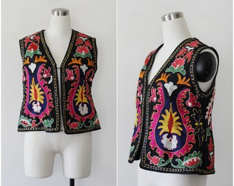 Ethnic Vest Embroidered Boho Vest Traditional Gypsy Hippie Usbek Bolero 1960's 70's Colorful Tapestry Afghan Peasant Vest Festival Jacket
