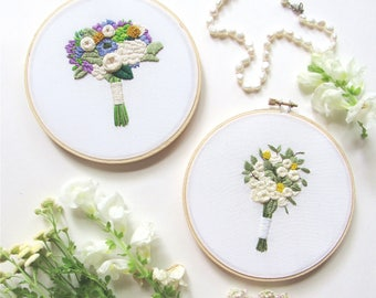 Embroidery Bouquet, Floral Embroidery, Bridal Bouquet Keepsake. Second Anniversary Gift. Cotton Anniversary Gift. Wedding Bouquet Keepsake.
