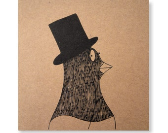 Pigeon with a Monocle Card Illustrated Card, Pigeon Card, Bird Card, Handmade Greeting Card