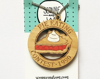 Laser cut wood necklace - Pie Eating Contest 1990 Twin Peaks Agent Cooper handpainted