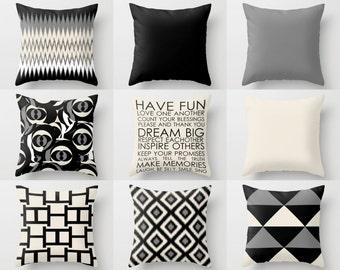"Throw Pillows, Throw Pillow Cover, Pillow Covers, Black Beige Pillows Covers, Neutral Pillow Covers, Neutral Decor 16"", 18"", 20"", 24"""
